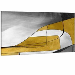 Abstract Mustard Yellow Grey Design Canvas Wall Art Print