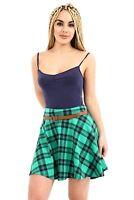 Ladies Women Check Tartan Pleated Flared Belted Mini Skater Skirt Plus Size
