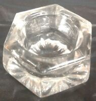 Salt Dip Crystal Clear Glass Hexagon Shape 6 Sides Open Salt Cellar Plain Bottom