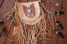 Lakota Eagle Bag Hand Tooled Turquoise Leather Fringe Bag Boho