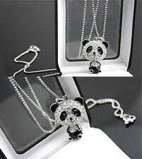Luxury Shinning Crystal Rhinestone Necklace Panda Bear Sweater Pendant Gift