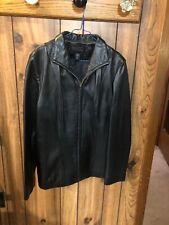 New York and Company Women's 100% Black Leather Zip Up Jacket size Large EUC