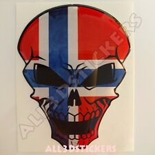 Sticker Flag Norway Skull Adhesive Decal Resin Domed Car Moto Tablet 3D