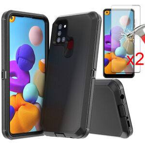 For Samsung Galaxy A21S Case Shockproof Hybrid Cover +Tempered Glass Protector