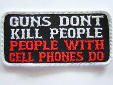 "Biker Patch  ""GUNS DON""T KILL PEOPLE""  embroidered emblem,  PPL9389"