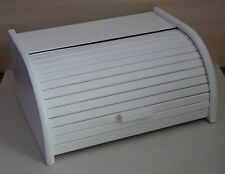 Wooden BREAD BIN WHITE Box With Roll Top, Beech Wood 40 x 29 cm NEW