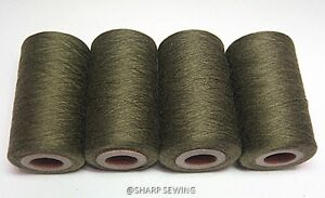 ARMY GREEN #939 SPUN POLYESTER SERGER & QUILTING THREAD 4 TUBES 1000 YDS. EACH