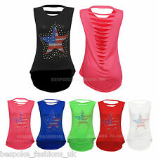 Women's Studded Star USA Flag with Slits on Back Ladies T-Shirt Tops OneSize