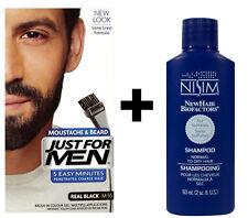 Sólo para hombres Tinte Pelo Facial Real Negro M55 + Nisim shampoo SLS y Paraben libre