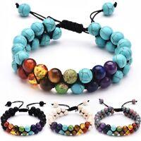 Men Women Natural Stone Universe Yoga 7 Chakra Bangle Seven Planet Bead Bracelet