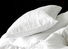 100% Leinen Kissenbezug 40x80 cm stonewashed mit Reißverschluss Weiß Flax Neu