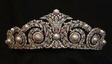 HAND-MADE ANTIQUE ROSE CUT DIAMOND 12.10ct SILVER PEARL ENGAGEMENT TIARA CROWN