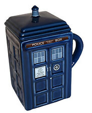 NEW IN BOX Dr Who Tardis Blue Ceramic Mug with Removable Lid 15cm - BBC Wesco