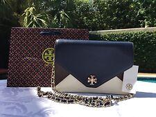 TORY BURCH KIRA COLOR BLOCK CLUTCH NEW IVORY/RAISIN/NAVY NWT $395 & GIFT BAG