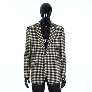CELINE 2750$ Rectangle 2Btn Jacket & Straight Collar in Rustic Checked Wool