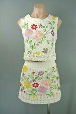 VTG Ivory 2pc Dress Set M/L Bohemian Mini Floral Embroidered (Black)#1041