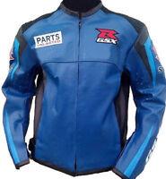 Suzuki GSX Motorcycle, Motorbike Rider's Racing Leather Jacket for Men