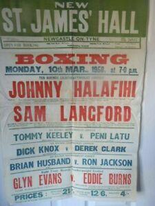 JOHNNY  HALAFIHI  V  SAM  LANGFORD  - ORIGINAL  BOXING  POSTER - 30 X 20 INCHES