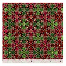 Christmas Fabric - Bethlehem Red Green Stained Glass - Quilting Treasures YARD