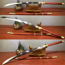 Real Handmade Chinese Sword T1095 Steel Clay Tempered Zhan Ma Dao Sabers Knives