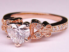 Heart Shape Diamond Butterfly Vintage Engagement Ring Pink Gold - GIA Flawless