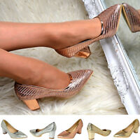 Women Block Heel Evening Shoes Metallic Glitter Prom Party Fashion Slip On Pumps