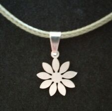 Stainless steel flower pendant with pu olive leather necklace
