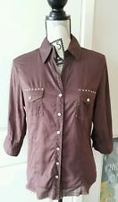 SZ L BODY CENTRAL Brown Button-Up Shirt Top EUC Cute Western Fringed Hem
