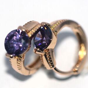 Small Purple amethyst womens hoop huggie earrings gold earings fashion jewelry