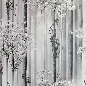 Blossom Forest Wallpaper Dusky Pink Grey Enchanted Trees Nature Matt Arthouse