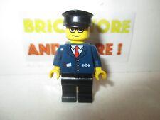 Lego - Minifigures - Dark Blue Suit with Train Logo Black Legs - trn128