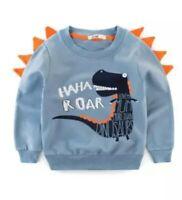 Dinosaur Sweater Jumper Top Blue Roar Mum Love Boys 12 18 24 Months