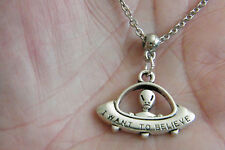 """ALIEN Necklace UFO SPACE CRAFT Charm """"I WANT TO BELIEVE"""" 20"""" STAINLESS Chain NEW"""