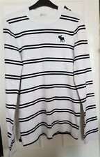 Abercrombie& Fitch size small, white with stripes and logo on the front jumper