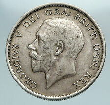 1915 Great Britain United Kingdom UK King GEORGE V Silver Half Crown Coin i84221