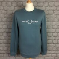 FRED PERRY MENS UK S BLUE CREW NECK WHITE LOGO JUMPER SWEATSHIRT TOP RRP £90 AD