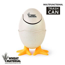 Wheat Straw Trash Can Multi-Purpose Egg Shape Garbage Storage Cleaning Bucket