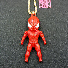 New Betsey Johnson Exquisite Red Enamel Hero Spider Man Pendant Chain Necklace