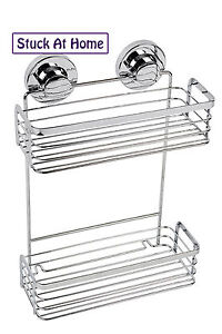 Naleon Ultimate Suction 2 Tier Shower Caddy Basket  - Bathroom Storage Caravan