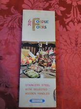 Vintage Stainless Steel Fondue Forks Set 6 Color Coded Wood Handles
