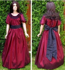 Girls Victorian American Civil War 3pc costume fancy dress burgundy