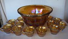 Vintage Indiana Grape Harvest Iridescent Marigold Carnival Glass Punch bowl set!