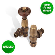 """Traditional Thermostatic Angled Radiator Valves Bronze Pair 15mm ½"""""""
