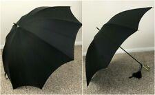 Vintage Pk Polan Katz Black Umbrella Gold Handle w/ Cover Nylon