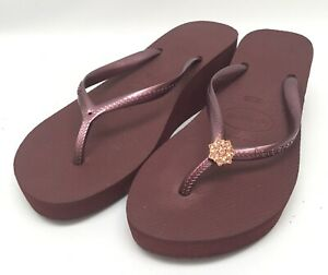Havaianas Plum Purple High Light Wedge Flip Flop Sandals sz 11 New w/ Defect