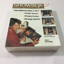Showbox Photo Viewer Picture Frame Storage Holds 40 Pics Soft White NEW