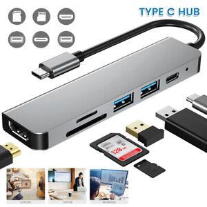 6 in 1 USB-C Typ-C zu auf HDMI HUB TV Adapter Kabel für Macbook Pro Samsung 4K