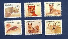 ZIMBABWE - Scott 594-599  - FVF MNH - animal, cheetah, dog, rhinoceros - 1989