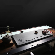 Zen style handmade tea tray carved leaf relief invisible water draining hole new