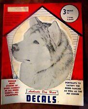 3 Vintage Alaskan Malamute Siberian Husky Dog Head Decals Pet Supply Imports